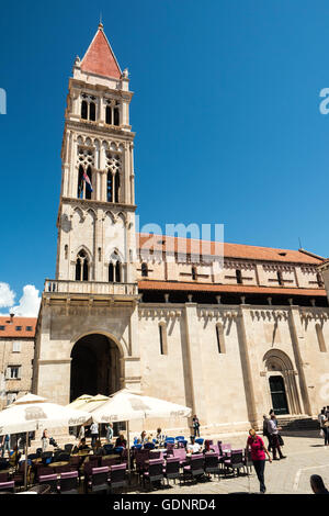 Cathedral of St. Lawrence Trogir, Croatia built in the Romanesque-Gothic Style - Stock Photo