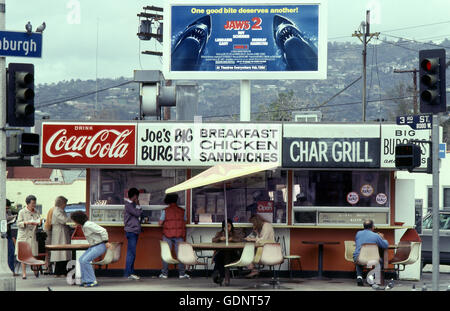 Burger Shack on Third St in Los Angeles circa 1980 - Stock Photo