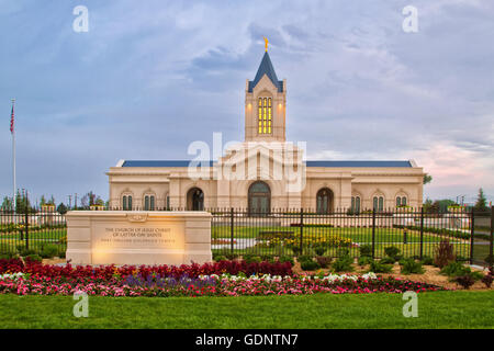 The Fort Collins Colorado Temple at sunrise on a cloudy day. The Church of Jesus Christ of Latter-Day Saints Temple - Stock Photo