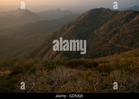 View of the Sajjangarh Wildlife Sanctuary from the Monsoon Palace, Udaipur, India - Stock Photo
