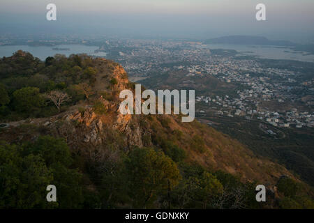 View from Sajjangarh Palace into Udaipur, Lake City, Rajasthan, India - Stock Photo