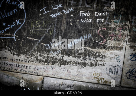 Messages written on the stone of Cologne Cathedral in Cologne, Germany. - Stock Photo