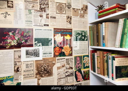 Wide selection of old garden reference books & garden sheds at the RHS Royal Horticultural Society 2016 Flower Show - Stock Photo