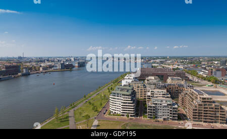 Across the IJ, the new A'DAM Tower, with magnificent views over Amsterdam. - Stock Photo