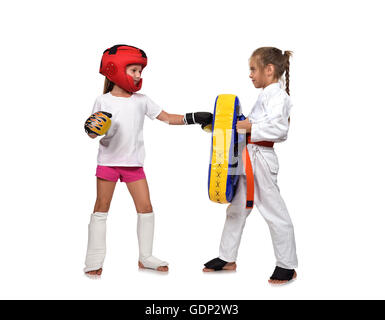 muay thai boxing girl It fulfills blows hand on a white background - Stock Photo