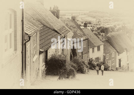 Famous cottages at Gold Hill, Shaftesbury, Dorset in July - Stock Photo