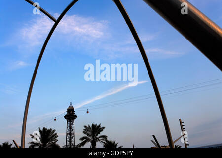 San Sebastián tower ( Cable-car), as seen from sculpture in de la Carbonera square, Barcelona, Spain - Stock Photo