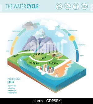 The water cycle diagram showing precipitation, collection, evaporation and condensation of water on a landscape - Stock Photo