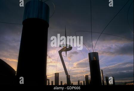 Communications tower, by Santiago Calatrava.And Sculptures  by Arata Isozak. Plaza Europa, Barcelona, Spain - Stock Photo