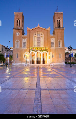 View of the Metropolitan Cathedral of Athens. - Stock Photo
