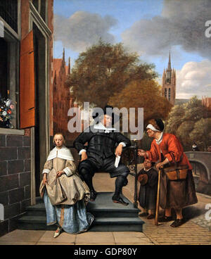 Jan Havicksz Steen 1625-1679 Adolf and Catharina Croeser.1655 Known as The Burgomaster of Delft and his Daughter - Stock Photo