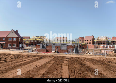 View of housing development on building site - Stock Photo
