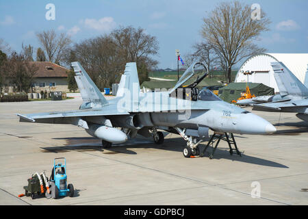 A Royal Canadian Air Force CF-188 (F/A-18A) Hornet preparing for takeoff from Mihail Kogalniceanu, Romania, during - Stock Photo
