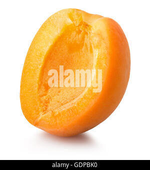 half of apricot isolated on the white background. - Stock Photo