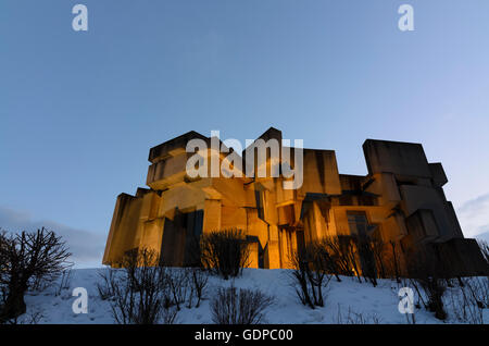 Wien, Vienna: Church ' Holy Trinity ' ( Wotrubakirche ) in the architectural style of brutalism in snow, Austria, - Stock Photo
