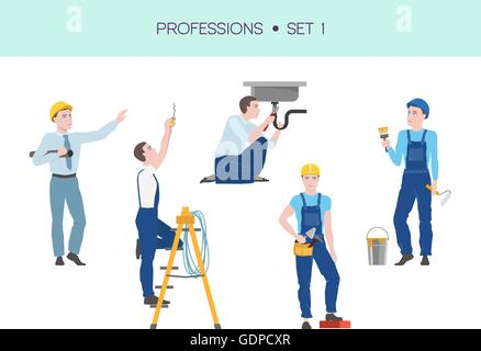 Group of workers vector set - Stock Photo