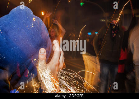 `Correfoc´, typical catalan celebration in which dragons and devils armed with fireworks dance through the streets. In Via Laiet