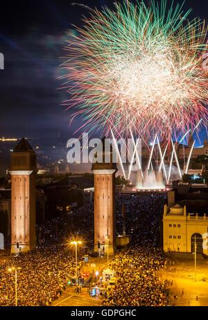 Fireworks at Plaza de España during La Merce Festiva, Barcelona. Catalonia. Spain - Stock Photo