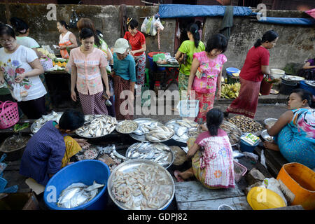 a smal streetmarket in the city of Myeik in the south in Myanmar in Southeastasia. - Stock Photo