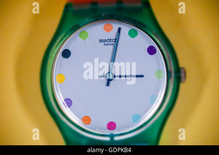 A Swatch brand watch in New York on Friday, July 15, 2016. The Swatch Group AG announced that during the first half - Stock Photo