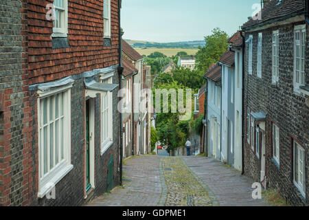 Summer evening on Keere Street in Lewes, England. - Stock Photo