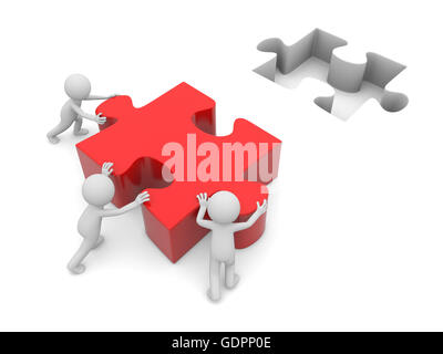 3 3d people holding the piece of a puzzle - Stock Photo