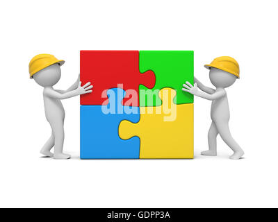 two 3d man assembling 4 puzzle pieces - Stock Photo