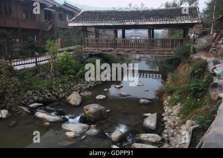 Dong Culture Rainbridge in Zhaoxing, Guizhou, China - Stock Photo