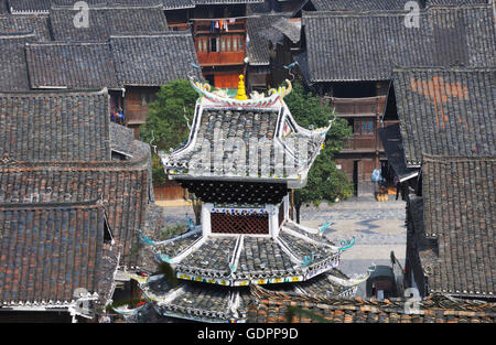 Cap of Drum Tower, Zhaoxing, Guizhou, China - Stock Photo
