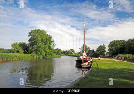 A view of the Norfolk Pleasure Wherry, Hathor, moored on the River Ant at How Hill, Ludham, Norfolk, England, United - Stock Photo