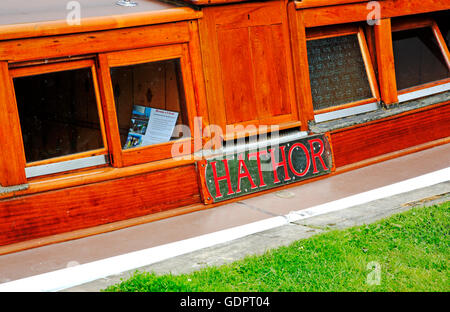 The name plate on the side of the Norfolk Pleasure Wherry Hathor. - Stock Photo