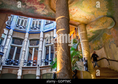 Ornate staircase inside courtyard of La Pedrera apartment ...