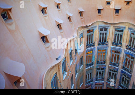 View of inner courtyard, Casa Mila, La Pedrera, Barcelona, Catalonia, Spain - Stock Photo