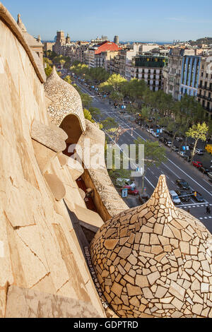 View of Passeig de Gracia, from Casa Mila, La Pedrera, Barcelona, Catalonia, Spain - Stock Photo