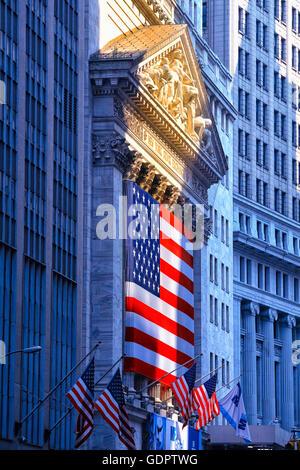 Stock Exchange in Wall street , New York City - Stock Photo