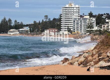 Sydney, AUSTRALIA - Jun 26, 2016. Collaroy Beach is still closed and 'under construction'. - Stock Photo