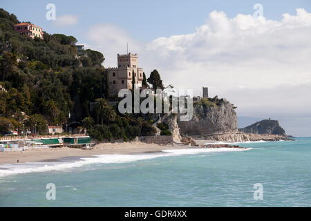 geography / travel, Italy, Finale Ligure, beach, Additional-Rights-Clearance-Info-Not-Available - Stock Photo