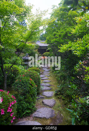 Garden in koto-in zen buddhist temple in daitoku-ji, Kansai region, Kyoto, Japan - Stock Photo