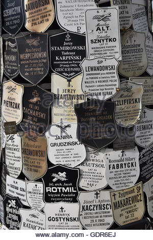 Plaques for the victims who died, were imprisoned or deported from Pawiak prison during Nazi occupation in WW2, - Stock Photo