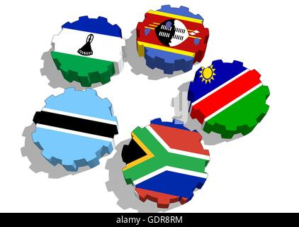 Southern African Customs Union members national flags - Stock Photo