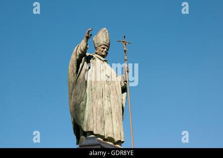 Pope John Paul II Statue - Spain - Stock Photo