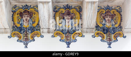 painted tiles with female heads in Art Nouveau style Azulejos, Lisbon, Lisbon, Portugal, Europe, Sintra, Lisbon, - Stock Photo