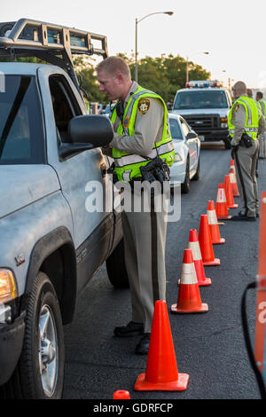 Las Vegas, Nevada - Police set up a sobriety checkpoint on Vegas Valley Drive, checking for alcohol or drug impairment.