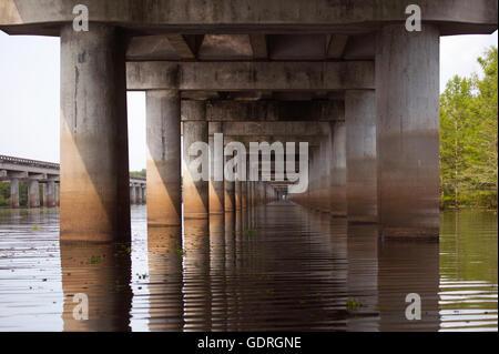 Atchafalaya swamp freeway, an 18.2 mile bridge crossing the wetland on Interstate 10 (I-10) highway - Stock Photo