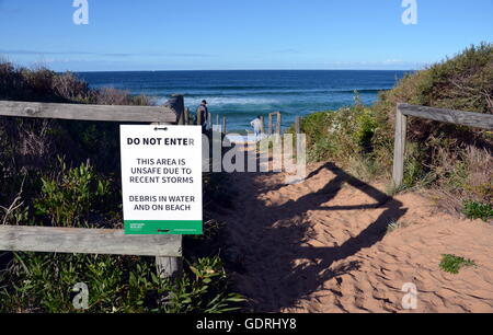 SYDNEY 13.06.2016, Collaroy beach is unsafe after the big storm. The intense storm lashing the NSW coast has caused - Stock Photo