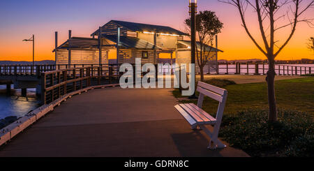 A quiet Woody Point basking in the afterglow of sunset near Brisbane, Queensland - Stock Photo
