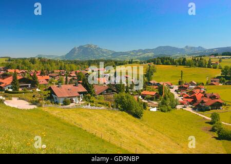 geography / travel, Germany, Bavaria, Obermaiselstein, townscape, Gruenten (mount) in the background, Additional - Stock Photo