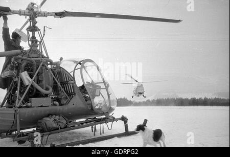 Rescue helicopter in action after the avalanche disaster in Vorarlberg, 1954 - Stock Photo
