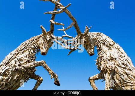 RHS Tatton Park Flower Show Exhibits. 19th July, 2016. Fabulous rutting stags exhibit shown at the RHS Tatton Flower - Stock Photo