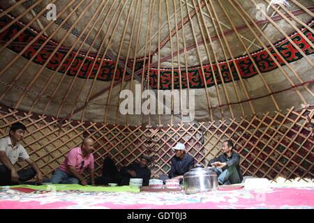 Hami, Hami, China. 16th July, 2016. Hami, China - July 16 2016: (EDITORIAL USE ONLY. CHINA OUT) Kazakh people live - Stock Photo